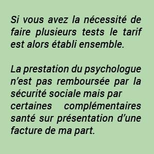 tarif psychologue information